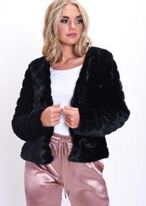 Soft Faux Fur Panel Crop Jacket Black