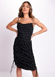 Spotted Heart Ruched Cowl Neck Satin Midi Dress Black