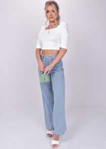Square Neck Puff Short Sleeve Crop Top White