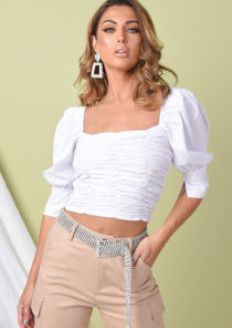 Square Neck Ruched Puff Sleeve Crop Blouse White