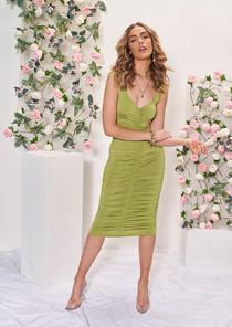 Square Neckline Ruched Side Midi Dress Green