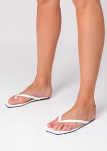 Square Toe Flip Flops Sandals White