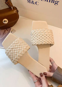 Square Toe Pu Braided Faux Leather Sliders Beige