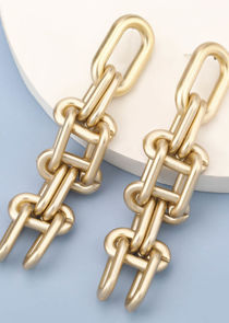 Stacked Ladder Link Up Chained Earring Gold