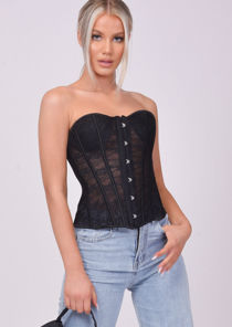 Strapless Lace Tie Up Underwired Corset Top Black