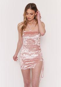 Strapless Velvet Side Lace Up Mini Dress Pink