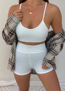 Strappy Bralet Crop Top Cycling Shorts Co Ord Loungewear Set White
