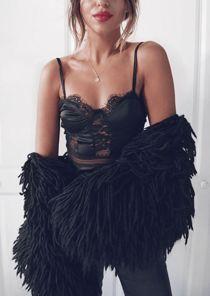 Strappy Lace Panel Satin Bodysuit Black