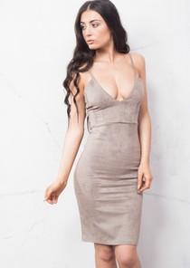 Strappy Plunge Neck Faux Suede Midi Dress Grey