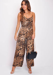 Strappy Leopard Print Wide Leg Wrap Top Jumpsuit Multi