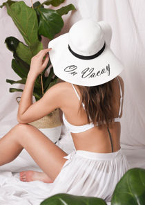 Straw Wide Brim Floppy Hat White