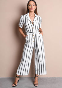 Stripe Button Front Wide Leg Jumpsuit Black