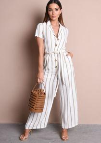 Stripe Button Front Wide Leg Jumpsuit Brown
