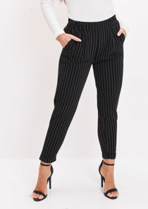 Stripe Elasticated Tapered Trousers Black