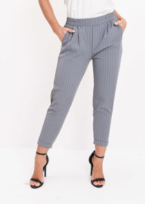 Stripe Elasticated Tapered Trousers Grey