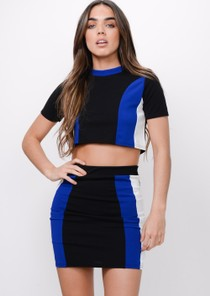 Stripe Panel Top and Skirt Co Ord Blue