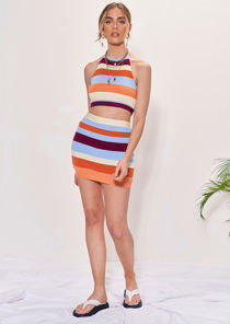 Knitted Striped Halterneck Crop Top And Mini Skirt Co-Ord Set Multi