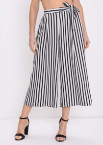 Stripe Tie Waist Culottes Trousers White