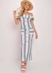 Striped Bardot Button Through Maxi Dress Multi