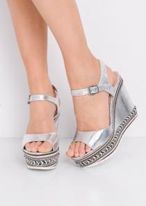Striped Metallic Wedge Heeled Sandals Silver