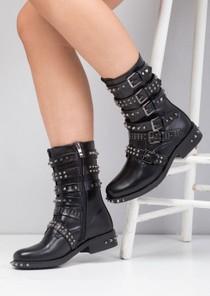 Rivet Studded Multi Buckles Biker Ankle Boots Black