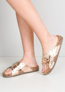 Metallic Studded Cross Strap Sliders Rose Gold