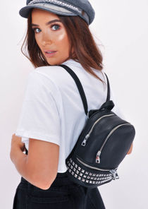 Studded Faux Leather Mini Backpack Black