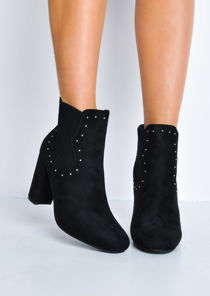 Studded Faux Suede Block Heel Ankle Boots Black