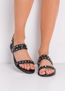 StuddedFlat Sandals Black