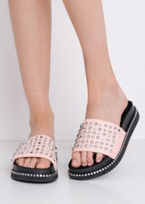Studded Flatform Sliders Pink