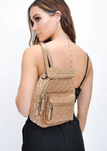 Studded Mini Backpack Brown