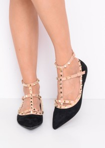 Studded T-Bar Pointed Faux Suede Flats Black