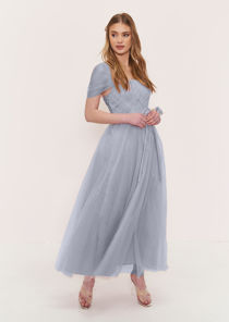 Sweetheart Mesh Off Shoulder Waist Tie Bridesmaid Maxi Dress Grey