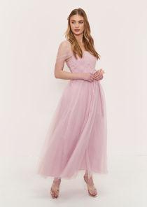 Sweetheart Mesh Off Shoulder Waist Tie Bridesmaid Maxi Dress Pink