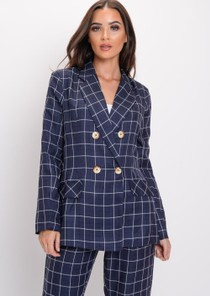 Tailored White Checked Blazer Navy Blue