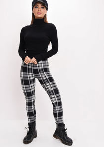 Tartan High Waisted Legging Trousers Black