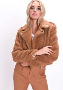 Teddy Borg Crop Biker Jacket Camel Brown