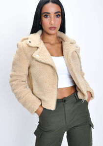 Teddy Borg Crop Biker Jacket Cream White