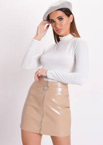 Textured PU Zip Detail Mini Skirt Beige