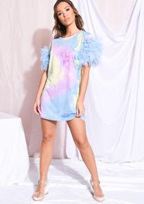 Tie Dye Frill Tulle Mini T Shirt Dress Blue
