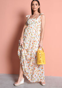 Tie Straps Sheered Floral Maxi Dress Cream
