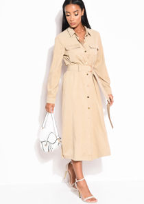 Tie Waist Longline Midi Shirt Dress Beige