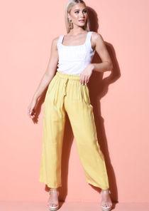 Tie Waist Wide Leg Trousers Yellow