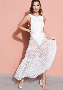 Tiered Polka Dot Lace Tulle Midaxi Skirt White