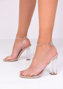 Transparent Perspex Barely There Sandal Heels Beige