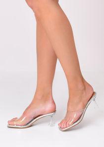 Transparent Perspex Kitten Mule Heels Silver