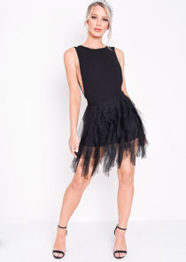 Tulle High Waisted Tiered Mini Skirt Black