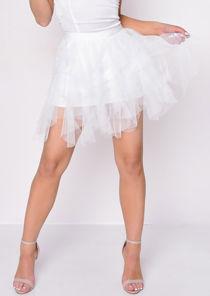 High Waisted Layered Tulle Ruffle Short Skirt White