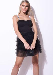 Tulle Lettering Straps Detail Mini Cup Dress Black