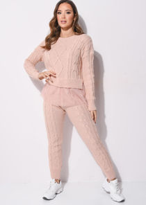 Tulle Mesh Hem Cable Knitted Loungewear Co Ord Set Pink